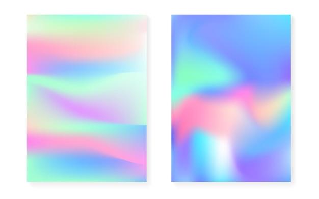Holograficzne tło gradientowe z pokrywą hologramu. lata 90-te, 80-te w stylu retro. perłowy szablon graficzny do broszury, banera, tapety, ekranu mobilnego. fluorescencyjny minimalny gradient holograficzny.