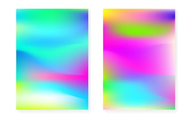 Holograficzne tło gradientowe z pokrywą hologramu. lata 90-te, 80-te w stylu retro. perłowy szablon graficzny do broszury, banera, tapety, ekranu mobilnego. hipster minimalny holograficzny gradient.