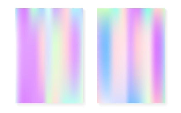 Holograficzne tło gradientowe z pokrywą hologramu. lata 90-te, 80-te w stylu retro. perłowy szablon graficzny na afisz, prezentację, baner, broszurę. tęcza minimalny gradient holograficzny.