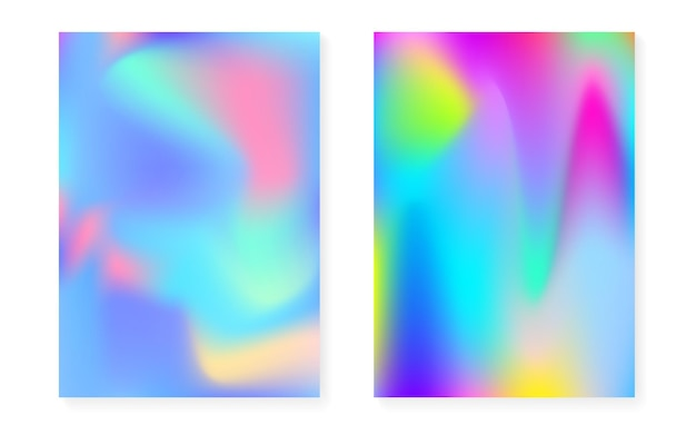 Holograficzne tło gradientowe z pokrywą hologramu. lata 90-te, 80-te w stylu retro. perłowy szablon graficzny na afisz, prezentację, baner, broszurę. wielokolorowy minimalny gradient holograficzny.