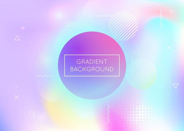 Holograficzne tło z płynnymi kształtami. dynamiczny gradient w stylu bauhaus z płynnymi elementami memphis.