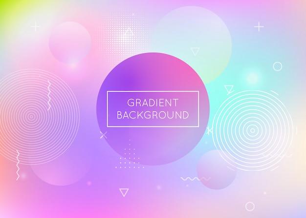 Holograficzne tło z płynnymi kształtami. gradient dynamiczny z elementami płynu memphis.