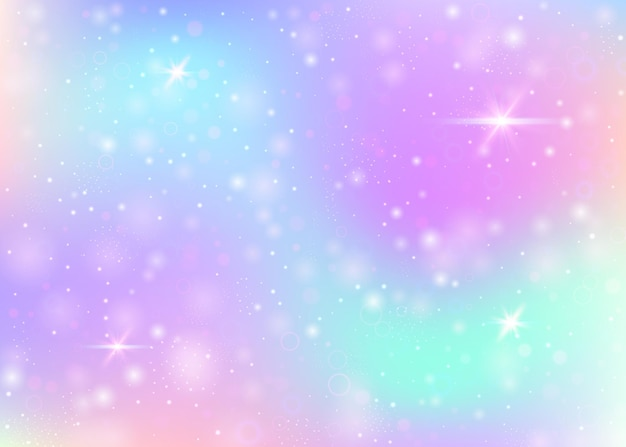 Holograficzne tło z tęczową siatką. baner mistycznego wszechświata w kolorach księżniczki. gradientowe tło fantasy z hologramem. tło holograficzne jednorożca z bajki błyszczy, gwiazd i rozmywa.