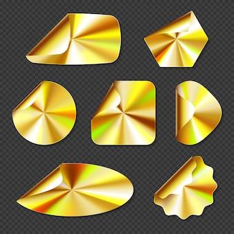 Holograficzne złote naklejki, etykiety ze złotą teksturą gradientu
