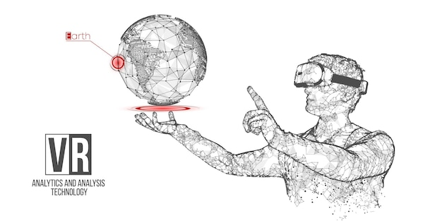 Holograficzny baner zestawu słuchawkowego vr