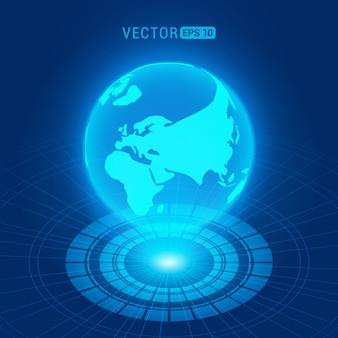 Holograficzny kula z kontynentami przeciwko ciemnoniebieskim abstrakcyjnym tle z kręgów i źródła światła
