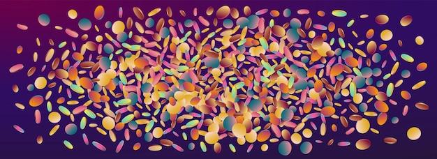 Holograficzny okrągły karnawał panoramiczne fioletowe tło. pocztówka z jednorożcem świętującym polkę. tekstura uroczystości. tło boże narodzenie hologram.