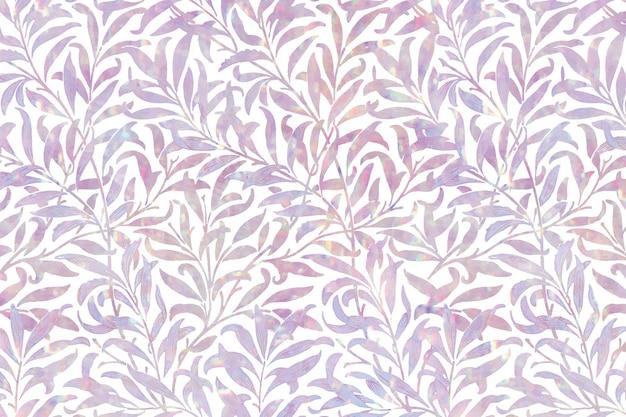 Holograficzny wzór liścia w stylu vintage, remiks z grafiki autorstwa williama morrisa