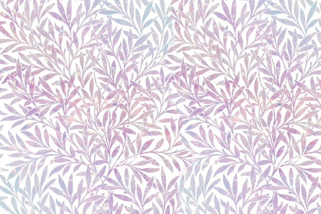 Holograficzny wzór liścia w stylu vintage z remiksu autorstwa williama morrisa