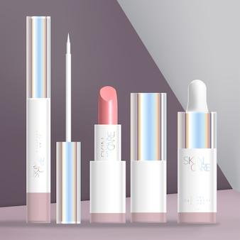 Holograficzny zestaw kosmetyczny lub kosmetyczny z białym kredką, pomadką i butelką z kroplomierzem