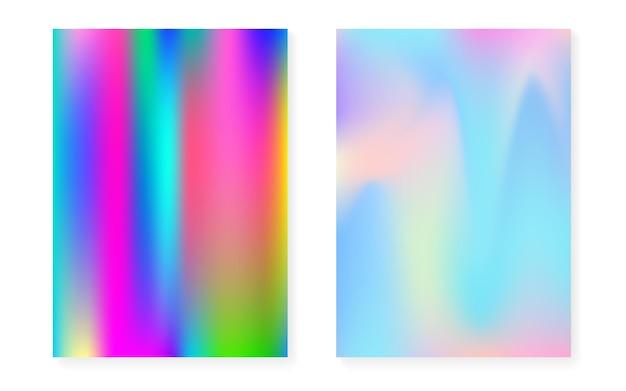 Holograficzny zestaw okładek z hologramowym tłem gradientowym. lata 90-te, 80-te w stylu retro. opalizujący szablon graficzny do broszury, banera, tapety, ekranu mobilnego. minimalna holograficzna okładka spectrum.
