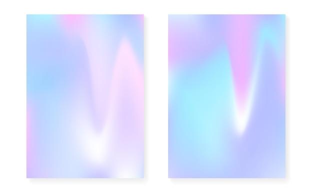 Holograficzny zestaw okładek z hologramowym tłem gradientowym. lata 90-te, 80-te w stylu retro. opalizujący szablon graficzny do broszury, banera, tapety, ekranu mobilnego. modna minimalna holograficzna okładka.