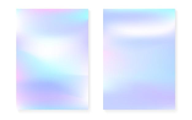 Holograficzny zestaw okładek z hologramowym tłem gradientowym. lata 90-te, 80-te w stylu retro. opalizujący szablon graficzny do książki, interfejsu rocznego, mobilnego, aplikacji internetowej. hipster minimalne holograficzne okładki.