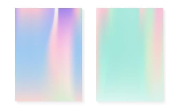 Holograficzny zestaw okładek z hologramowym tłem gradientowym. lata 90-te, 80-te w stylu retro. opalizujący szablon graficzny do książki, interfejsu rocznego, mobilnego, aplikacji internetowej. kolorowa minimalna holograficzna okładka.
