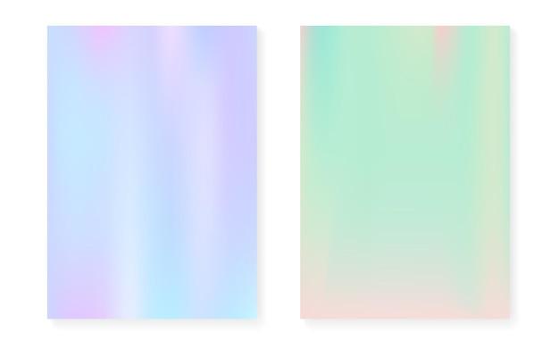 Holograficzny zestaw okładek z hologramowym tłem gradientowym. lata 90-te, 80-te w stylu retro. opalizujący szablon graficzny do ulotki, plakatu, banera, aplikacji mobilnej. kolorowa minimalna holograficzna okładka.