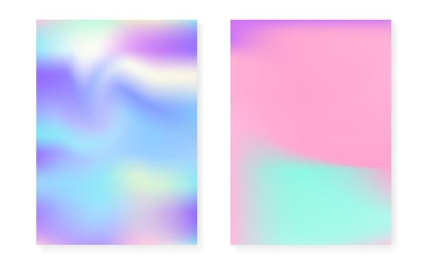 Holograficzny zestaw okładek z hologramowym tłem gradientowym. lata 90-te, 80-te w stylu retro. opalizujący szablon graficzny na afisz, prezentację, baner, broszurę. minimalna holograficzna okładka spectrum.
