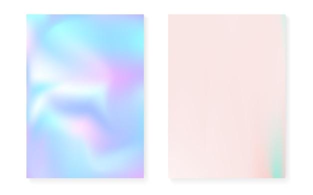 Holograficzny zestaw okładek z hologramowym tłem gradientowym. lata 90-te, 80-te w stylu retro. opalizujący szablon graficzny na afisz, prezentację, baner, broszurę. neonowa minimalna holograficzna okładka.