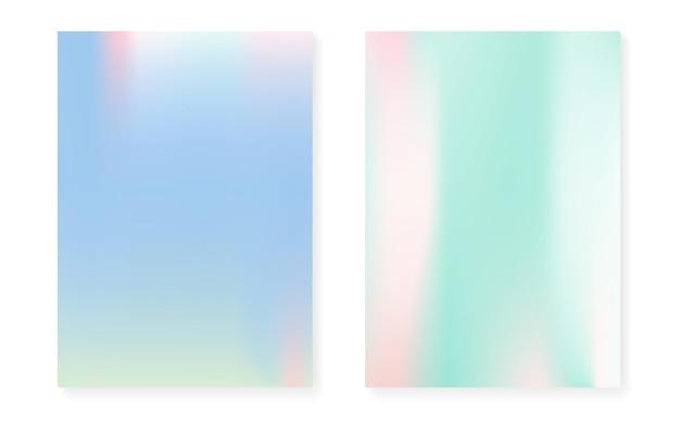 Holograficzny zestaw okładek z hologramowym tłem gradientowym. lata 90-te, 80-te w stylu retro. opalizujący szablon graficzny na afisz, prezentację, baner, broszurę. stylowa, minimalistyczna okładka holograficzna.
