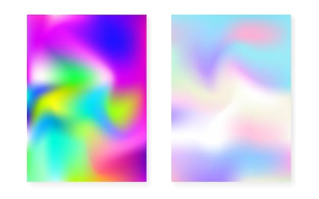 Holograficzny zestaw okładek z hologramowym tłem gradientowym. lata 90-te, 80-te w stylu retro. perłowy szablon graficzny do broszury, banera, tapety, ekranu mobilnego. hipster minimalne holograficzne okładki.