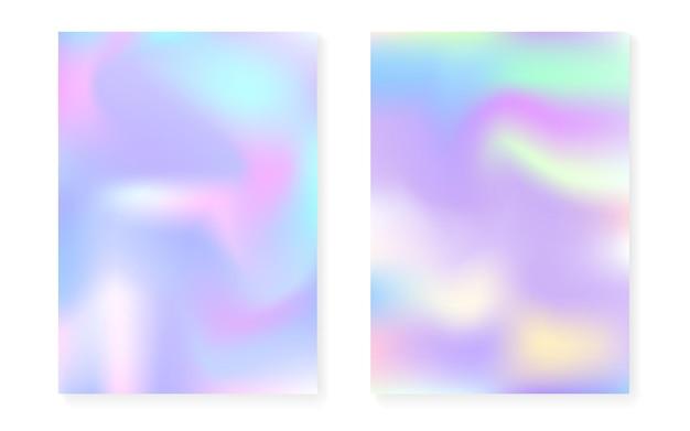 Holograficzny zestaw okładek z hologramowym tłem gradientowym. lata 90-te, 80-te w stylu retro. perłowy szablon graficzny do broszury, banera, tapety, ekranu mobilnego. neonowa minimalna holograficzna okładka.
