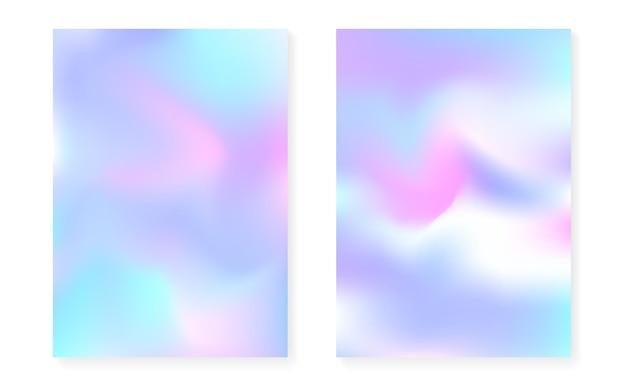 Holograficzny zestaw okładek z hologramowym tłem gradientowym. lata 90-te, 80-te w stylu retro. perłowy szablon graficzny do książki, interfejsu rocznego, mobilnego, aplikacji internetowej. kreatywna minimalna holograficzna okładka.