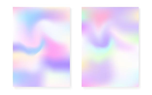 Holograficzny zestaw okładek z hologramowym tłem gradientowym. lata 90-te, 80-te w stylu retro. perłowy szablon graficzny do książki, interfejsu rocznego, mobilnego, aplikacji internetowej. minimalna holograficzna okładka spectrum.