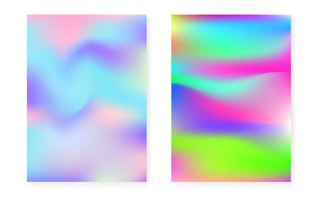 Holograficzny zestaw okładek z hologramowym tłem gradientowym. lata 90-te, 80-te w stylu retro. perłowy szablon graficzny na afisz, prezentację, baner, broszurę. kolorowa minimalna holograficzna okładka.