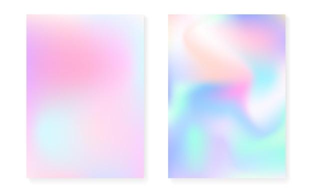 Holograficzny zestaw okładek z hologramowym tłem gradientowym. lata 90-te, 80-te w stylu retro. perłowy szablon graficzny na afisz, prezentację, baner, broszurę. modna minimalna holograficzna okładka.