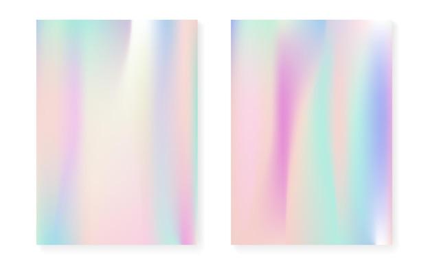 Holograficzny zestaw okładek z hologramowym tłem gradientowym. lata 90-te, 80-te w stylu retro. perłowy szablon graficzny na afisz, prezentację, baner, broszurę. stylowa, minimalistyczna okładka holograficzna.