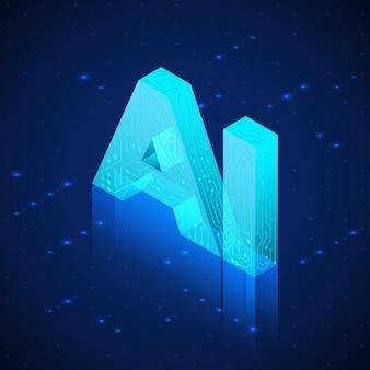 Hologram ai. izometryczny sztucznej inteligencji. tło technologii.