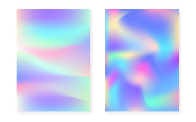 Hologram tło gradientowe z holograficzną okładką. lata 90-te, 80-te w stylu retro. perłowy szablon graficzny do książki, interfejsu rocznego, mobilnego, aplikacji internetowej. minimalny gradient widma hologramu.