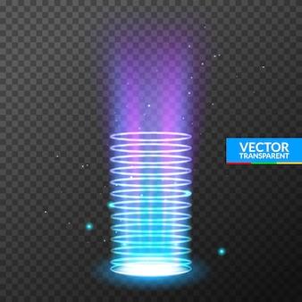 Hologram z efektem świetlnym portalu. podium teleportacji magicznego kręgu. wiązka wirowa ufo i lejek energii promienia.
