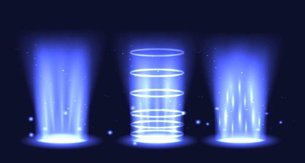 Hologram z efektem świetlnym w zestawie portalowym. podium teleportacji magicznego kręgu. wiązka wirowa ufo i lejek energii promienia.