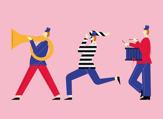Holowanie francuskiej orkiestry marszowej i mima
