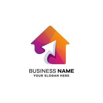 Home arrow gradient kolorowe logo szablon