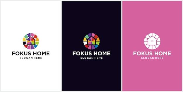 Home focus kolorowe nowoczesne logo ikona projektowania domu, ilustracja wektorowa szablonu logo projektowania domu docelowego. dom połączony ze znakiem celu