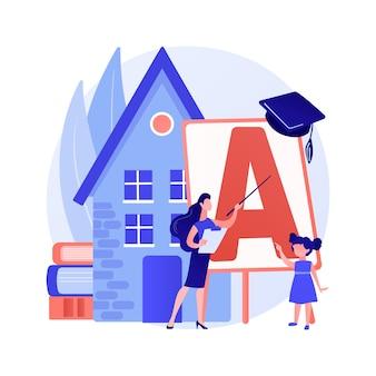 Home-school your kids abstract concept vector illustration. kształcenie na odległość, edukacja w domu zdalnym, zorganizowany program szkolny, rodzice pomagają dzieciom uczyć się podczas kwarantanny abstrakcyjnej metafory.