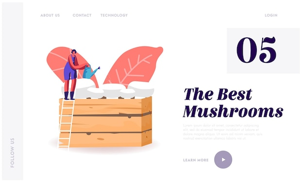 Homemade fungiculture, homemade mushrooms hobby landing page template.