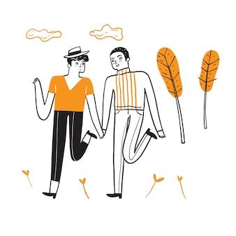 Homoseksualna para świętuje miłość do spacerów, trzymając się za ręce.