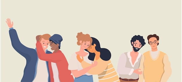 Homoseksualni partnerzy romantyczni wektor płaska ilustracja ruch lgbt homoseksualni mężczyźni