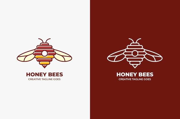 Honey bee farm monoline logo