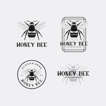 Honey bee logo design premium szablon zestaw zapasów