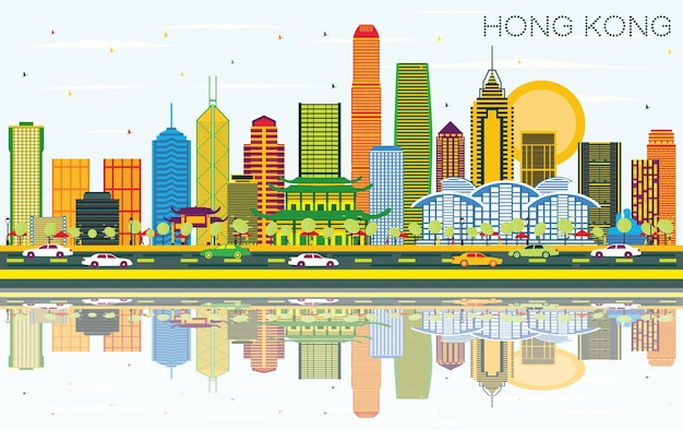 Hong kong china city skyline z kolorowymi budynkami, błękitnym niebem i odbiciami. ilustracja wektorowa. podróże służbowe i koncepcja turystyki z nowoczesną architekturą. hongkong gród z zabytkami.