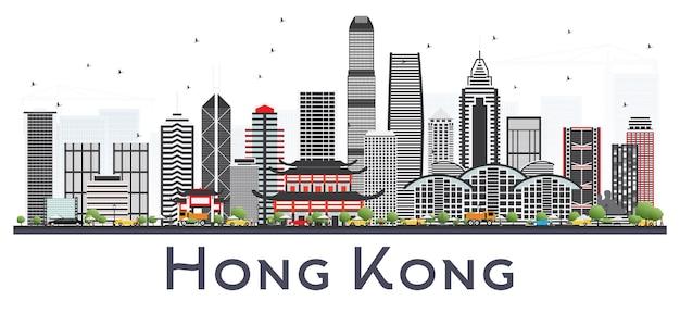 Hong kong china city skyline z szarymi budynkami na białym tle. ilustracja wektorowa. podróże służbowe i koncepcja turystyki z nowoczesną architekturą. hongkong gród z zabytkami.