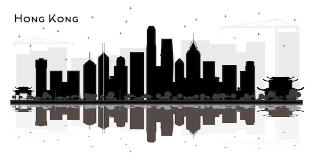 Hong kong chiny city skyline czarno-biała sylwetka. prosta koncepcja płaska do prezentacji turystyki, banera, afiszu lub strony internetowej. hongkong gród z zabytkami. ilustracja wektorowa.