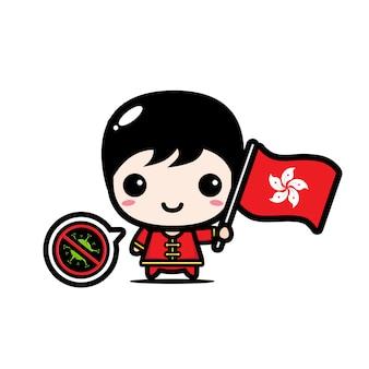 Hong kong chłopiec z flagą przeciwko wirusowi