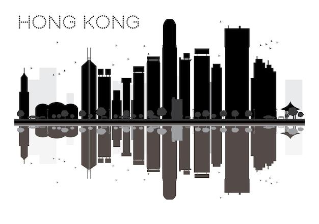 Hong kong city skyline czarno-biała sylwetka z odbiciami. ilustracja wektorowa. prosta koncepcja płaska do prezentacji turystyki, banera, afiszu lub strony internetowej. pejzaż miejski z zabytkami.