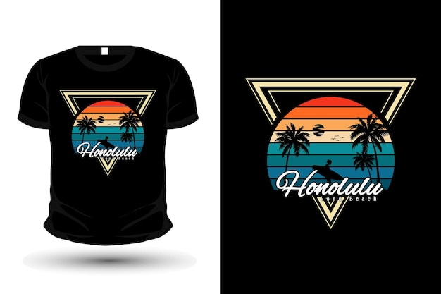 Honolulu długa plaża towar sylwetka t shirt design w stylu retro