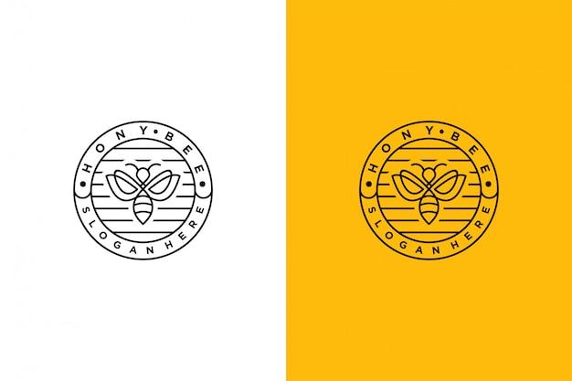 Hony bee logo minimalis emblemat vintage