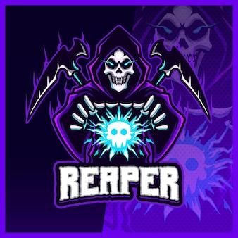 Hood reaper świeci w kolorze niebieskim esport i projekt logo maskotki sportowej z nowoczesną koncepcją ilustracji dla